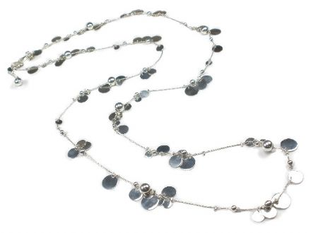 Contemporary Sterling Silver Disc and Bead Necklace